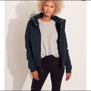 Hollister cozy lined bomber with faux fur trim